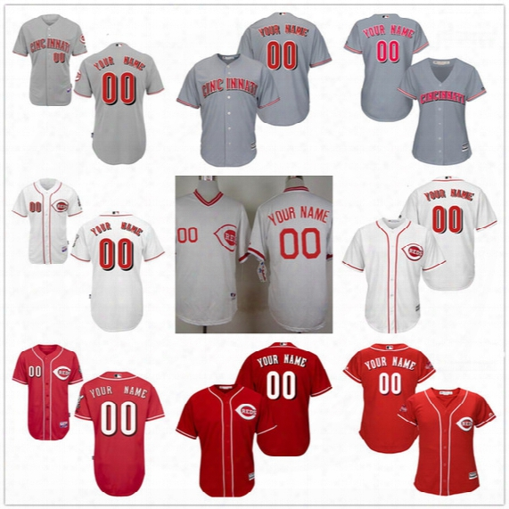 Customized Cincinnati Reds Mens Womens Kids Gray Road White Red Pullover Vintage Personalized Sewn On Your Own Name Number Jerseys S,4xl