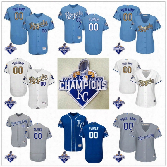 Customized Kansas City Royals Mens Womens Kids 2015 World Series Champions Gray Gold White Blue Stitched Your Own Name Number Jerseys S,4xl