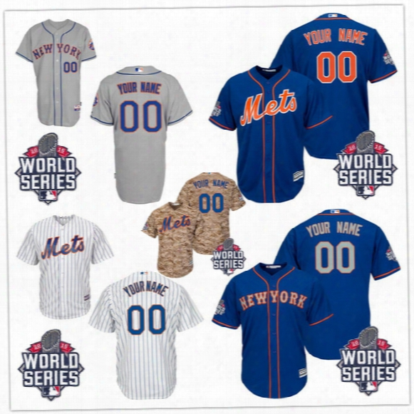 Customized New York Mets Mens Womens Kids 2015 World Series Camo Orange Gray White Blue Stitched Your Own Name Number Jersey S,4xl