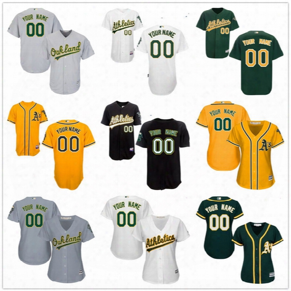 Customized Oakland Athletics Mens Womens Youth Kids Gray Road White Gold Green Vintage Cooperstown Sewn On Your Own Name Number Jersey S,4xl