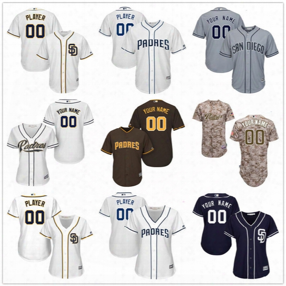 Customized San Diego Padres Mens Womens Kids Gray Road White Blue Brown Camo Personalized Sewn On Your Own Name Number Jerseys S,4xl