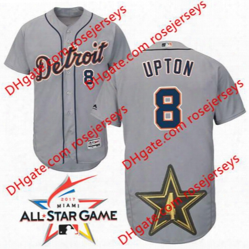 Detroit Tigers 2017 All-star Game Worn Jersey #8 Justin Upton White Home Gray Road Navy Blue Flex Cool Base Stitched Baseball Mens Jerseys
