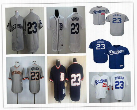 Detroit Tigers Throwback 23 Kirk Gibson Jersey Cooperstown Grey White Cheap Stitched Retro Los Angeles Dodgers Kirk Gibson Jerseys