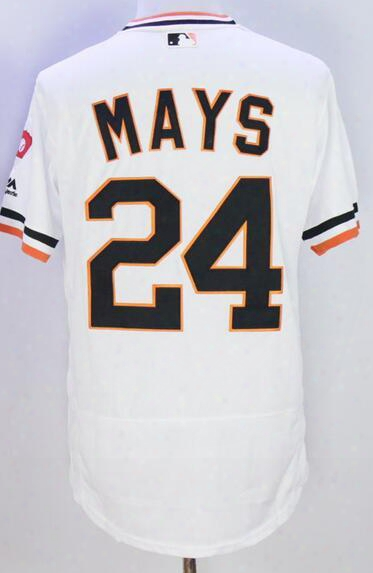 Discount Cheap San Francisco Giants White 24 Mays Baseball Jerseys,40 Bumgarner Baseball Jersey,44 Mccovey 28 Posey 22 Clark Baseball Wear