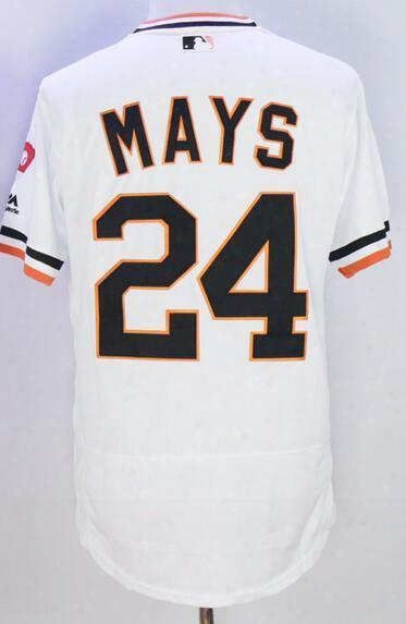 Discount Cheap San Francisco Giants White 24 Mays Baseball Jerseys,40 Bumgarner Baseball Jersey,44 Mccovey 28 Posey 22 Clark Baseball Wear