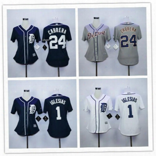 Discount Detroit Tigers Women's Jerseys Baseball 24 Miguel Cabrera 1 Jose Iglesias Navy Blue White Grey Ladies Shirts Good Drop Shipping