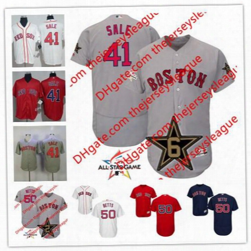 Embroidered Mens Boston Red Sox 2017 All Star Game Worn #41 Chris Sale 50 Mookie Betts White Gray Flex Cool Base Baseball Jerseys