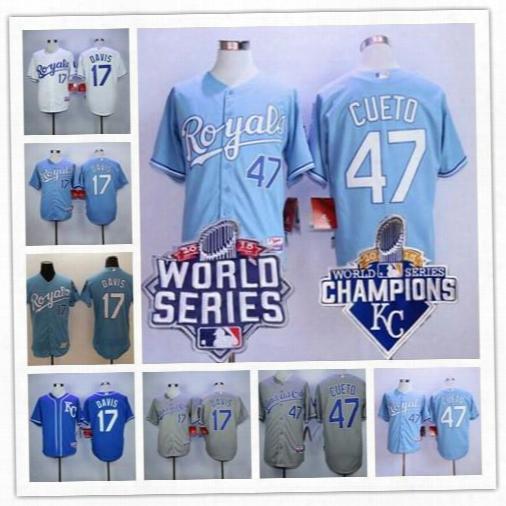 Embroidered Mens Kansas City Royals #17 Wade Davis 47 Johnny Cueto Gray Light Blue 2015 World Series Champions Discount Baseball Jerseys