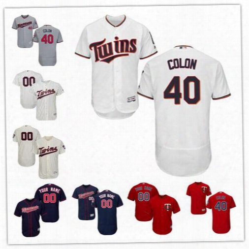 Embroidered Mens Minnesota Twins 2017 New Trade #40 Bartolo Colon White Home Gray Cream Navy Red Flex Cool Base Baseball Jerseys S-4xl
