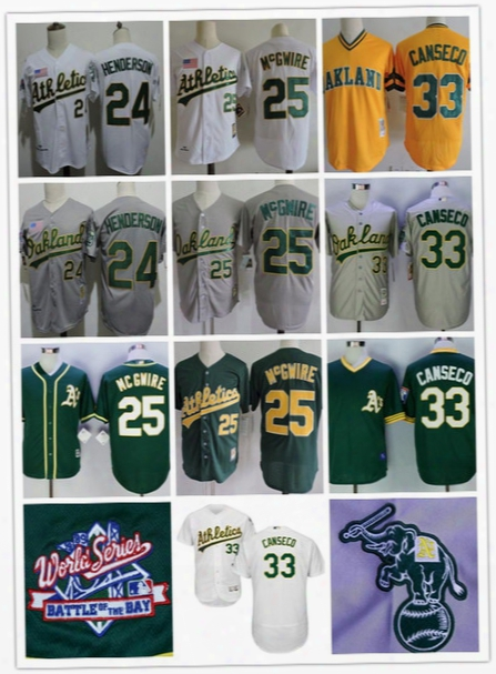 Embroidered Mens Oakland Athletics #24 Rickey Henderson 25 Mark Mcgwire 33 Jose Canseco 1989 World Ser Ies White Gray Vintage Jerseys M-3xl