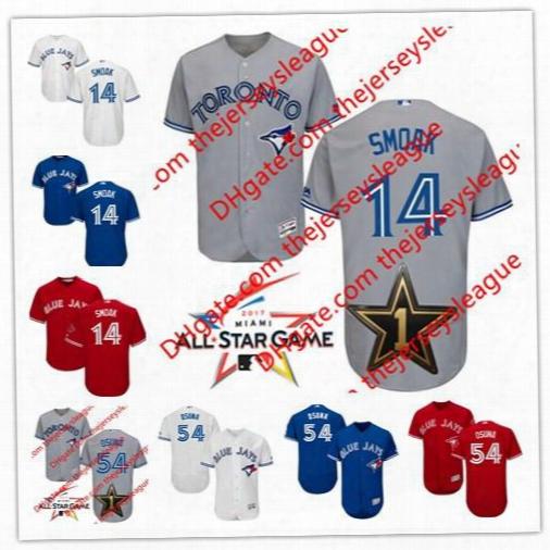 Embroidered Mens Toronto Blue Jays 2017 All Star Game Worn #14 Justin Smoak 54 Roberto Osuna White Flex Cool Base Baseball Jerseys S-4xl