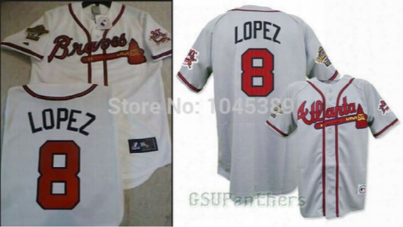 Factory Outlet Men's Women's Kid's/youth Custom Atlanta Braves 8 Javier Lopez 30th White Road Grey Stitched Best Quality Baseball Jerseys