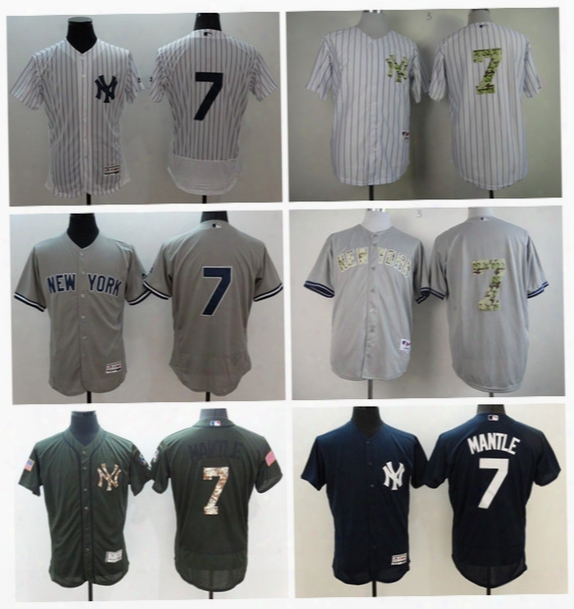 Flexbase 7 Mickey Mantle Jersey Cooperstown New York Yankees Mickey Mantle Baseball Jerseys Throwback Grey White Pinstripe Black Army Green