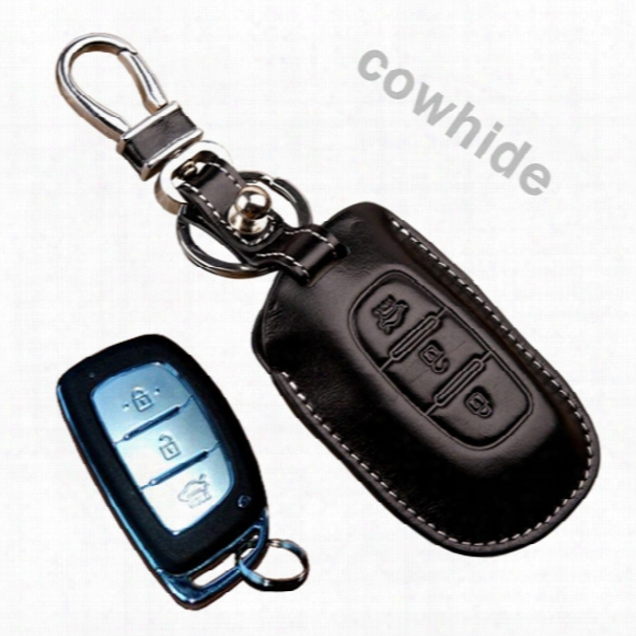 Genuine Leather Car Key Fob Cover For Hyundai Creta Ix25 Grand I10 Xcent Elite I20 I40 Smart Key Holder Bag Auto Keychain Accessories