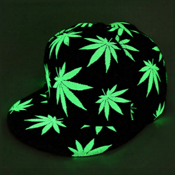 Herb Baseball Hat Glow In The Dark Cap Luminous Night Glow Hat Hip-hop Rasta Hemp Leaf 420 Pot Flat Bill Snapback Baseball Cap