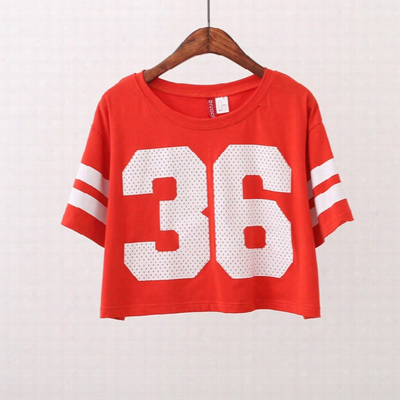 High Quality Crop Tops Women Baseball T Shirt No.36 Letter Printed Striped Tops Tee Sexy Women T-shirt Red Tshirt