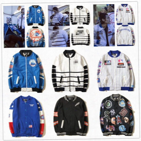 Hot Men's Casual Letter Fksh/mlb Brand Logo Printed Jacket Skateboard Sports Outerwear Coats Hip Hop Streetwear Baseball Clothes
