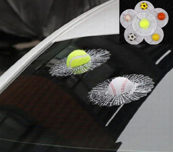 Hot Sale 3d Car Stickers Ball Hits Car Body Window Sticker Self Adhesive Baseball Tennis Decal Accessories Funny Auto Car Styling