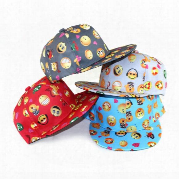 Hot Sale Cartoon Qq Emoji Pattern Caps Children Baseball Cap Flat Along Parental Hip Hop Emoji Pattern Hats M007