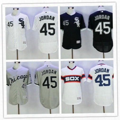 Hot Sale! Chicago Pure Sox #45 Jordan Flexbase Baseball Jersey White Black Grey Pull Over Jersey,100% Stitched