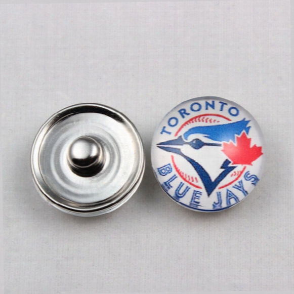 Hot Demand Mlb Ginger Snap Jewelry Toronto Blue Jays Ginger Snap Button 18mm Glass Baseball Team Snap Charms For Snap Button Jewelry