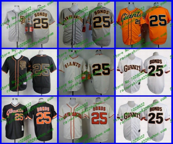 Hot Sale San Francisco Jersey #25 Barry Bonds Jersey Cream/gray/black Baseball Throwback Jersey Cheap Wholesale