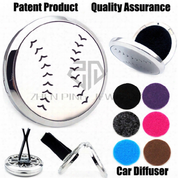 Hot Sale Silver Baseball (38mm) Magnet Diffuser Car Aromatherapy Locket Free Pads Essential Oil 316 Stainless Steel Car Diffuser Lockets