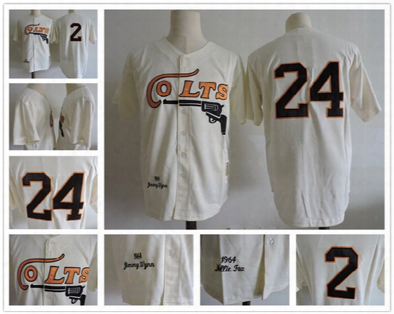 Houston Colts Throwback Baseball Jersey Mens Retro 2 Nellie Fox 24 Jimmy Wynn Vintage 1964 Turn Back Stitched Jersey