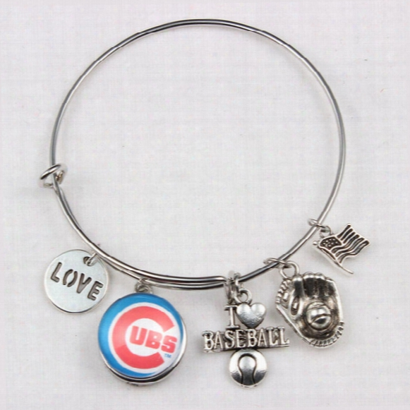 I Love Baseball We Are No.1 Enamel Chicago Cubs Bracelets Silver Plated Expandable Bangles Fashion Jewelry