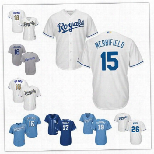Kansas City Royals Jerseys Stitched Womens Youth White 15 Whit Merrifield 16 Paulo Orlando 17 Dozier 19 Cheslor Cuthbert 26 Mike Minor