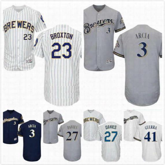 Keon Broxton Jersey 23 Zach Davies 27 Junior Guerra 41 Orlando Arcia 3 Mens Milwaukee Brewers Baseball Jerseys Full Stitched Cool Base S-3xl