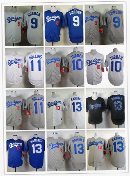 Los Angeles Dodgers 9 Dee Gordon 10 Justin Turner 11 Jimmy Rollins 13 Hanley Ramirez Jersey Baseball Jersey Flexbase Home Away Mlb Jersey