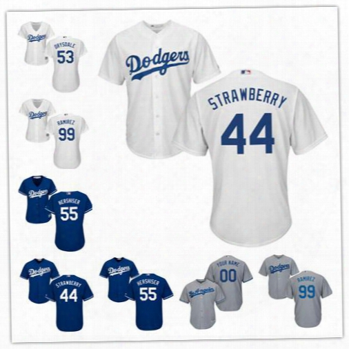 Los Angeles Dodgers Retired Player Jersey Stitched Womens Youth White #44 Darryl Strawberry 53 Don Drysdale 55 Hershiser 99 Manny Ramirez