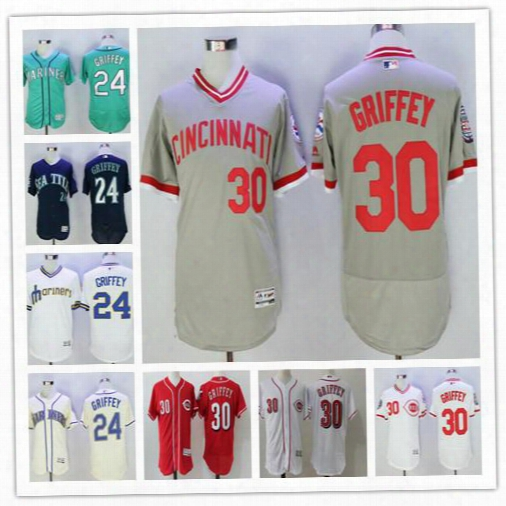 Men Cincinnati Reds Seattle Mariners 30 24 Ken Griffey Jr. Flex Base Pullover Cream Red White Green Gray Baseball 2016 Hall Of Fame Jerseys