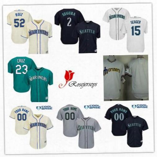 Men Cool Base Seattle Mariners 1 Jarrod Dyson 17 Mitch Haniger 52 Carlos Ruiz 2 Jean Cream Gray Teal Green Navy Blue White Pullover Jerseys