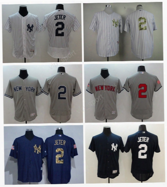 Men New York Yankees 2 Derek Jeter Jersey Flexbase Pinstripe Derek Jeter Baseball Jerseys Kiss To Service Green White Wicked Gray Camo