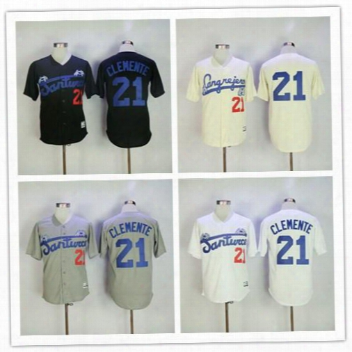 Men Puerto Rico Cangrejeros De Santurce Crabbers Jerseys Gray #21 Roberto Clemente Black White Stitched University Baseball Jerseys S,3xl