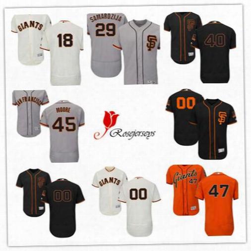 Men San Francisco Giants Flex Base 40 Madison Bumgarner Gray 18 Matt Cain Black 47 Johnny Cueto Cream 45 Matt Moore Orange Baseball Jersey