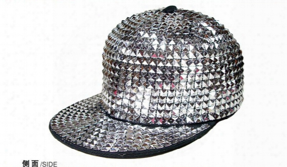 Men Silver Sequin Hat Glitter Snapback Hiphop Cap Punk Style Headwear Rivet Cap Adjustable Baseball Cap Flat Brim Blank Hats Street Caps