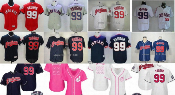 Men Women Youth Cleveland Indians Mother World Series Ricky Vaughn Throwback Sewn Cool Flex Baseball Jerseys Blue Navy Grey Pink Red White