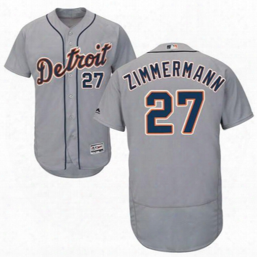 Men's 2017 Detroit Tigers #27 Jordan Zimmermann Grey White Blue Flexbase Coolbase Jersey Stitched Free Shipping Size S-6xl