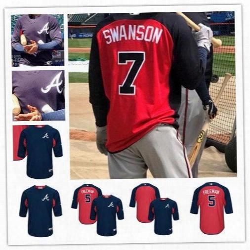 Men's Atlanta Braves 5 Freddie Freeman 7 Dansby Swanson Navy/re Dauthentic Collection On-field 3/4-sleeve Player Batting Practice Jerseys