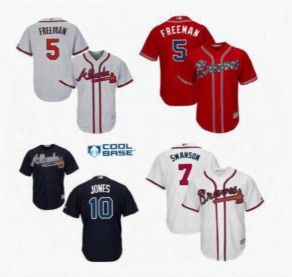 Men's Atlanta Braves Freddie Freeman Chipper Jones Dansby Swanson Majestic Alternate Cool Base Player Jersey