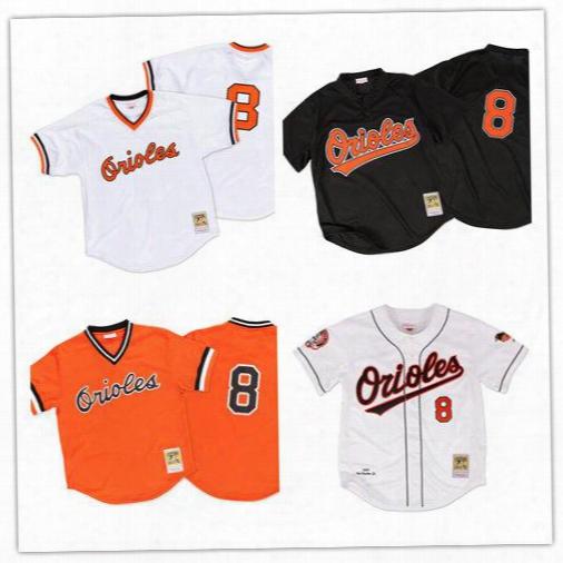 Men's Baltimore Orioles 8 Cal Ripken Jr 2001 Authentic 1985 White 1988 Orange 1977 Black Authentic Mesh Bp Jersey Size S-6xl
