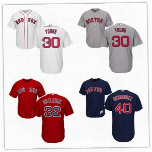 Men's Boston Red Sox Baseball Jersey 30 Chris Young 32 Josh Rutledge 40 Marco Hernandez Red White Navy Blue Grey Size S-6xl