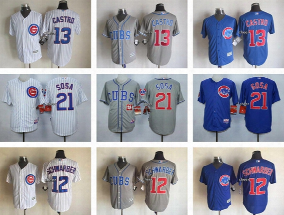 Men's Chicago Cubs #13 Starlin Castro #21 Sammy Sosa #12 Kyle Schwarber Stitched Authentic Cool Baseball Jersey Top Quality Cheap Jerse