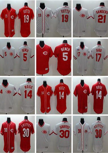 Men's Cincinnati Reds Johnny Bench #5 Jersey,pete Rose #14,joey Votto #19,ken Griffey Jr #30,larkin #11,sabo #17 Stitched Baseball Jerseys