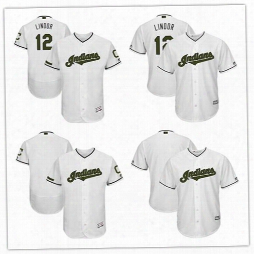 Men's Cleveland Indians Francisco Lindor Majestic White 2017 Memorial Day Cool Base Flexbase Player Jersey Custom Any Name Any Number