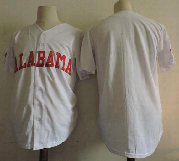 Men's Custom Ncaa Alabama Crimson Tide College Baseball Jersey Stitched White Alabama Crimson Tide Personalized Jersey S-3xl