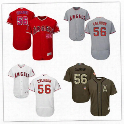 Men's Los Angeles Angels Of Anaheim Grey 56 Kole Calhoun Authentic Jersey Authentic Flexbase Collection Baseball Jerseys